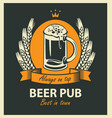 label for beer pub with beer glass and wreath vector image vector image