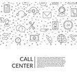 line call support center icons background vector image vector image