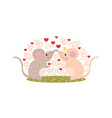 love concept mouse with heart in cartoon style vector image vector image
