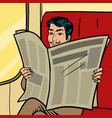 man reads newspaper in train pop art style vector image vector image