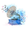 music background with vintage gramophone vector image vector image
