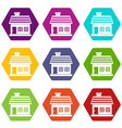 one-storey house icon set color hexahedron vector image vector image