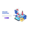 online shopping design concept with woman and vector image vector image