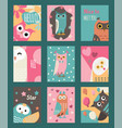 owl set cards or banners vector image vector image