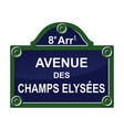 paris street avenue plate sign symbol vector image