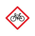 red bicycle road sign vector image vector image