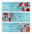 set horizontal banners about tattoo vector image vector image