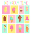 set isolated vintage cards with ice creams vector image vector image