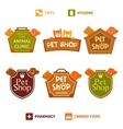 Set of logo on heraldic shield for pet shop vector image vector image