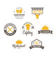 set restaurant shop design element in vintage vector image vector image