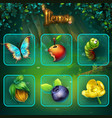 shadowy forest gui set items buttons and icon vector image