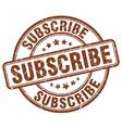 Subscribe brown grunge round vintage rubber stamp