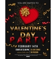 Valentines Day Party Flyer with red heart and gold vector image vector image