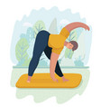woman doing yoga outdoor in park vector image vector image