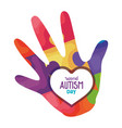 world autism day and hand with puzzle pieces vector image vector image