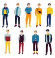 young beautiful boy dressed in trendy clothes the vector image