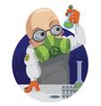 cartoon professor chemist vector image