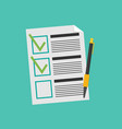 clipboard with checklist flat vector image