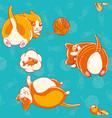 seamless pattern with cute cartoon kittiess vector image
