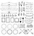Set of romantic decor elements Hand drawing style vector image
