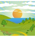 Abstract nature landscape sun sky road vector image vector image