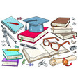 an open book glasses and a student diploma a vector image