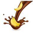 banana in chocolate liquid flow realistic fruit vector image vector image
