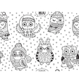 black and white winter owls seamless pattern vector image vector image