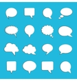 Blank empty white speech bubbles on blue vector image vector image