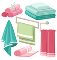 cartoon stack of bath towels roll of fluffy white vector image vector image