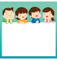 children post smile on a white board space frame vector image vector image