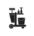 cleaning trolley black concept icon vector image vector image