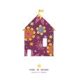 colorful stars house silhouette pattern frame vector image vector image