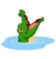 Crocodile cartoon open its mouth vector image