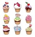 Cupcake set vector image vector image