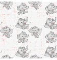 cute baby elephants seamless pattern hand drawn vector image