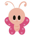 cute big headed butterfly on white background vector image