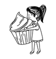 cute little girl character with cake vector image
