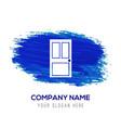 door icon - blue watercolor background vector image