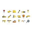 electric tools icon set flat style vector image vector image