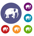 elephant icons set vector image vector image