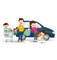 family shoping be happy with car on a white vector image