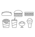 fast food linear icons in flat design vector image