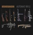 firearm set automatic rifle machine gun flat vector image vector image