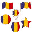 flag of the romania performed in defferent shapes vector image vector image
