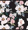 floral seamless pattern with pink peony flowers vector image