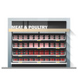 fresh meat display on shelf in supermarket vector image vector image