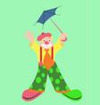funny clown with blue umbrella vector image