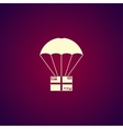 Gift box flying on parachute delivery service vector image vector image