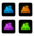 glowing neon cash register machine with a check vector image